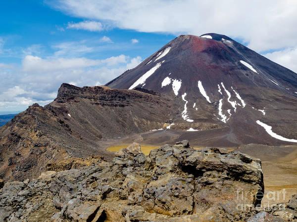 Mount Art Print featuring the photograph Active Volcanoe Cone Of Mt Ngauruhoe New Zealand by Stephan Pietzko
