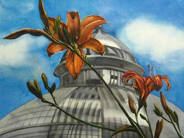 Flower Art Print featuring the painting Allan Garden With Daylilies by Alfred Ng