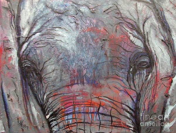 Elephant Art Print featuring the painting Alone by Aimee Vance