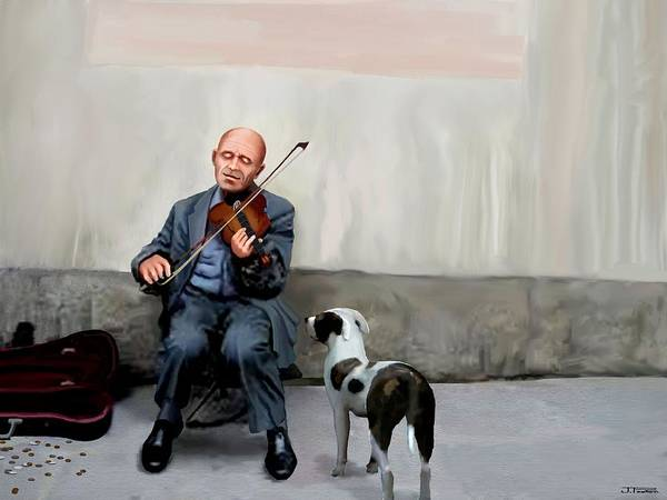 Fiddle Player Art Print featuring the painting An Audience Of One by Jann Paxton