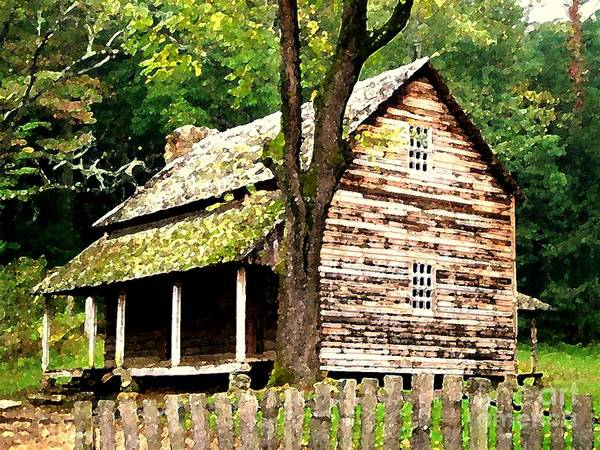 Appalachian Art Print featuring the painting Appalachian Cabin by Desiree Paquette