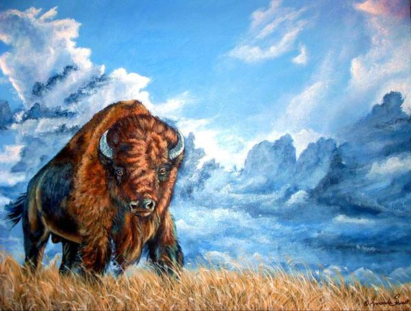 Buffalo Art Print featuring the painting Approaching Storm by Amanda Hukill