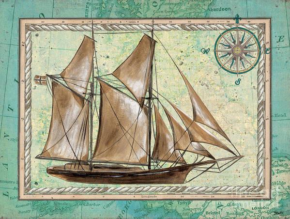 Aqua Art Print featuring the painting Aqua Maritime 2 by Debbie DeWitt