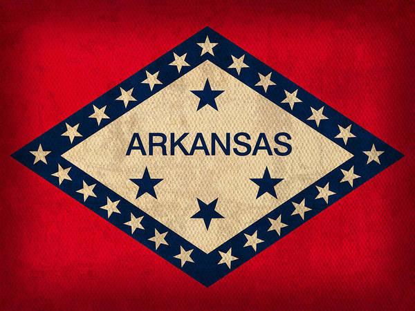 Arkansas Art Print featuring the mixed media Arkansas State Flag Art On Worn Canvas by Design Turnpike