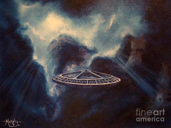Si-fi Art Print featuring the painting Atmospheric Arrival by Murphy Elliott