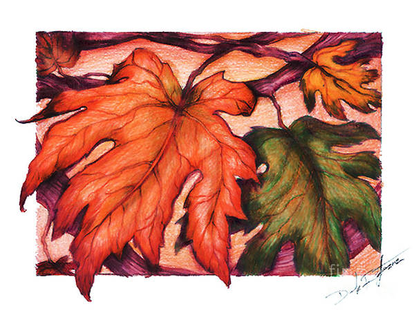 Landscape Art Print featuring the drawing Autumn Leaves by Derrick Bruno-Rathgeber