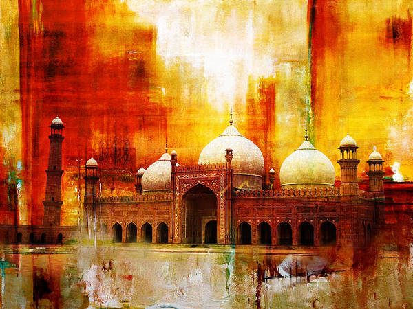Pakistan Art Print featuring the painting Badshahi Mosque Or The Royal Mosque by Catf