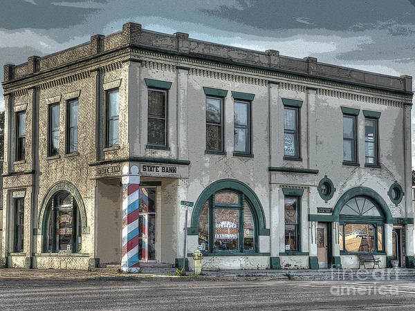 Mj Olsen Art Print featuring the photograph Bank To Barbershop by MJ Olsen
