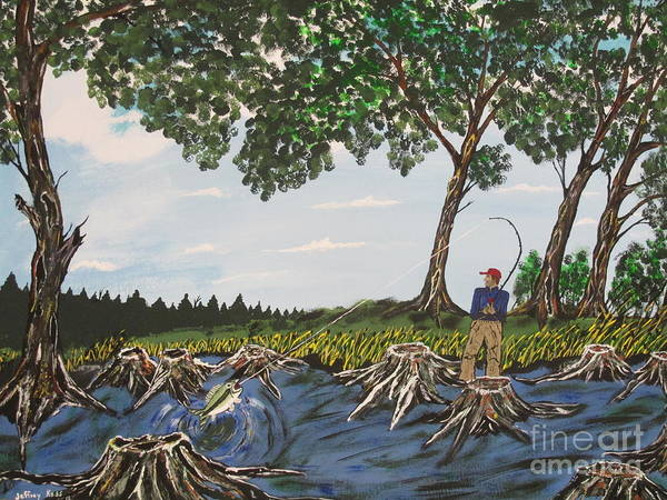 Art Print featuring the painting Bass Fishing In The Stumps by Jeffrey Koss
