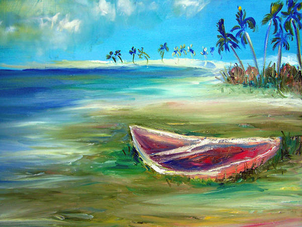Rowboat Art Print featuring the painting Beached by Patricia Taylor