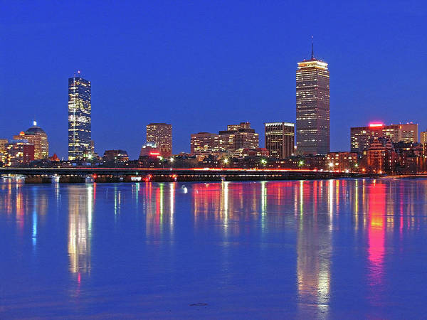 Boston Skyline Art Print featuring the photograph Beantown City Lights by Juergen Roth
