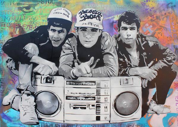 Stencil Art Art Print featuring the painting Beastie Boys by Josh Cardinali