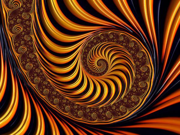 Fractal Print featuring the digital art Beautiful Golden Fractal Spiral Artwork by Matthias Hauser