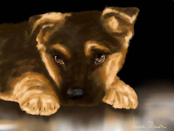 Digital Art Print featuring the painting Beautiful Puppy by Veronica Minozzi