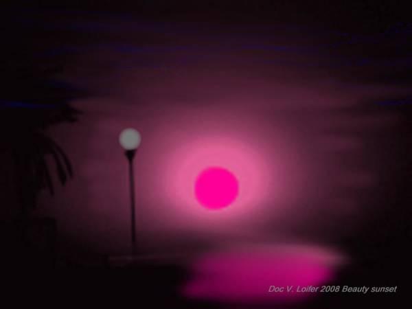 Landscape.sun.sea.coast.sky.sunset.tree.sunreflect Art Print featuring the digital art Beauty Sunset by Dr Loifer Vladimir