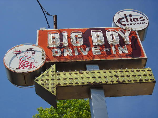 Sign Art Print featuring the photograph Big Boy Drive-in by Guy Ricketts