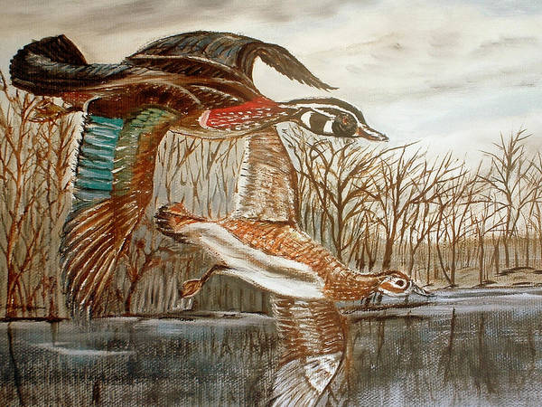 Birds Landing Water Landscape Art Print featuring the painting Birds Landing by Kenneth LePoidevin