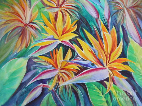 Birds Of Paradise Art Print featuring the painting Birds Of Paradise by Summer Celeste