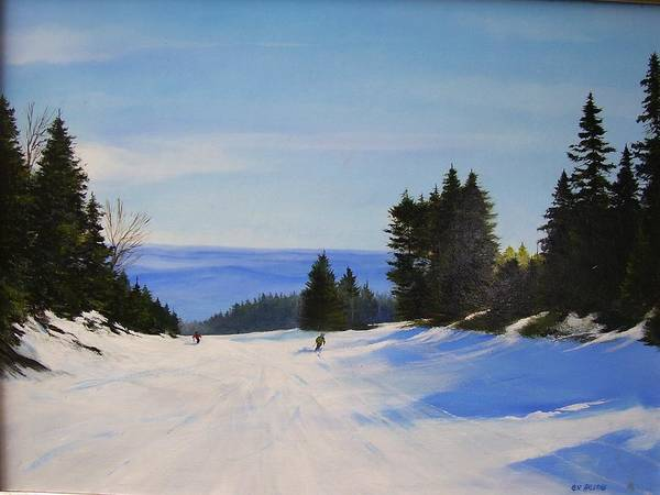 Ski Art Print featuring the painting Black And Blue by Ken Ahlering