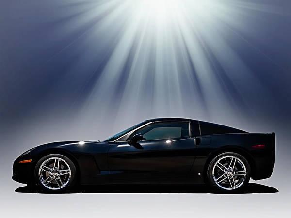Black Art Print featuring the digital art Black Corvette by Douglas Pittman