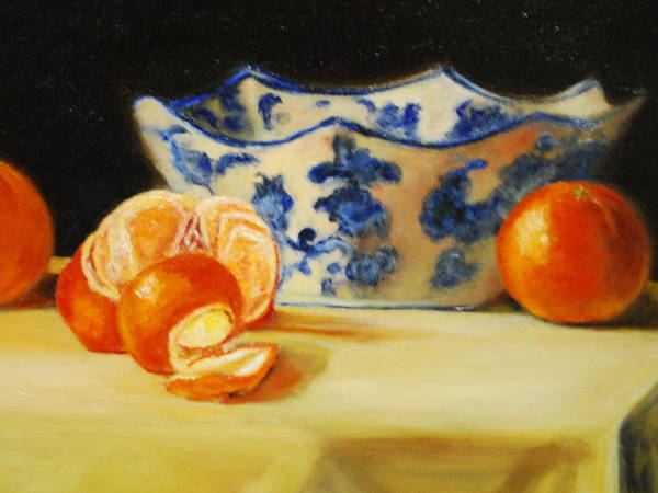 Tangerines Print featuring the painting Blue And White Bowl And Tangerines by Ann Simons
