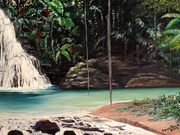 Tropical Waterfall Art Print featuring the painting Blue Basin by Karin Dawn Kelshall- Best