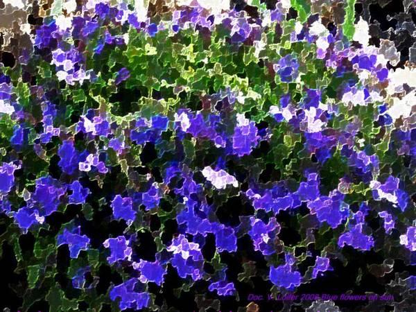 Blue.flowers.green Leaves.happiness.rest.pleasure.mosaic Art Print featuring the digital art Blue Flowers On Sun by Dr Loifer Vladimir