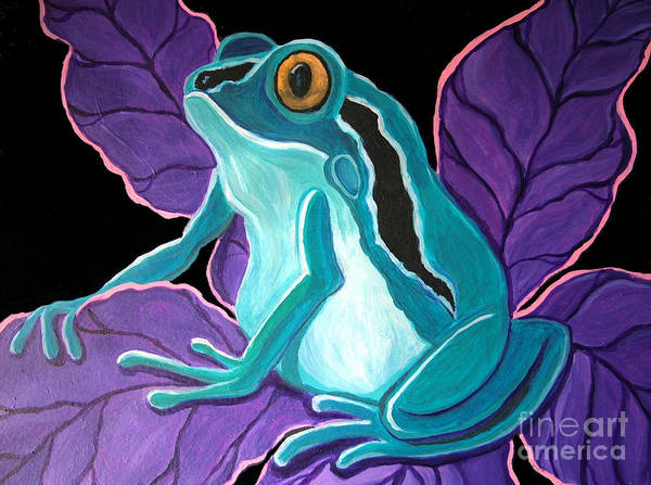 Frog Art Art Print featuring the painting Blue Frog Purple Flower by Nick Gustafson