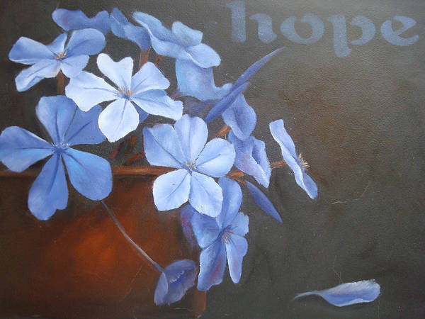 Flower Art Print featuring the painting Blue Hope by Sharron White
