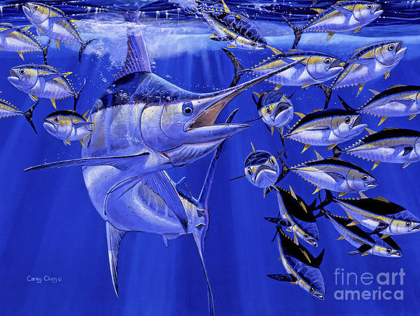Blue Marlin Art Print featuring the painting Blue Marlin Round Up Off0031 by Carey Chen