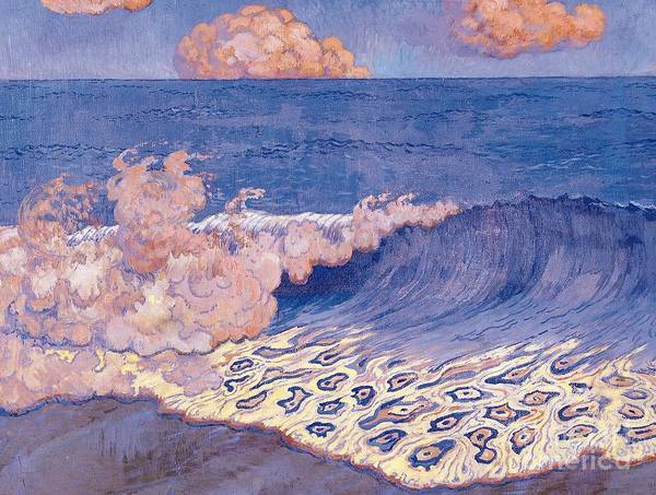 Breakers Art Print featuring the painting Blue Seascape Wave Effect by Georges Lacombe