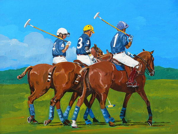 Polo Art Print featuring the painting Blue Team by Janina Suuronen