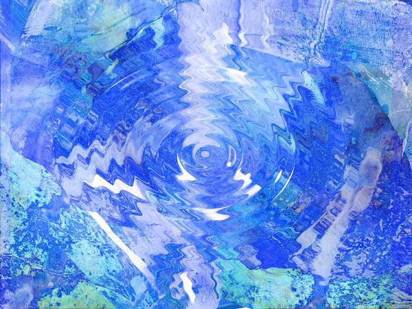 Blue Art Print featuring the digital art Blue Twirl Abstract by Ann Powell