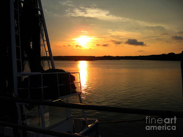 Seascape Art Print featuring the photograph Boat At Sunset by Marcia Nichols