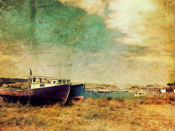 Grunge Print featuring the photograph Boat Dreams On A Hill by Tracy Munson