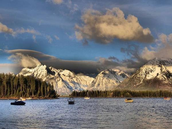Landscape Art Print featuring the photograph Boating In The Tetons by Dan Sproul