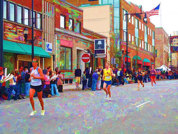 Marathon Art Print featuring the photograph Boston Marathon Mile Twenty Two by Barbara McDevitt