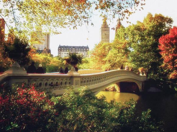 Bow Bridge Art Print featuring the photograph Bow Bridge - Autumn - Central Park by Vivienne Gucwa