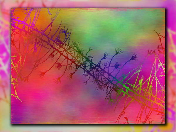 Abstract Print featuring the digital art Branches In The Mist 24 by Tim Allen