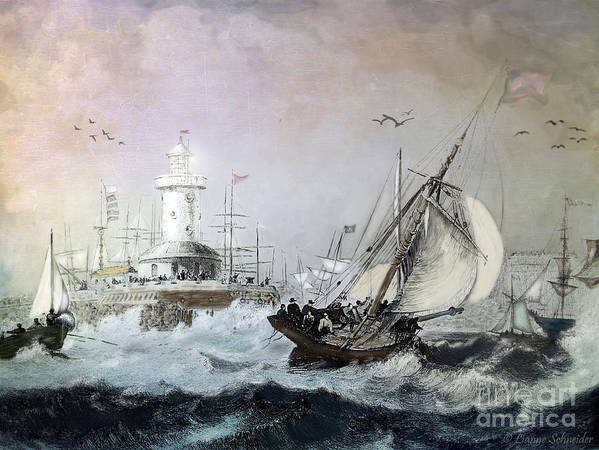 Seascapes Art Print featuring the digital art Braving The Storm by Lianne Schneider