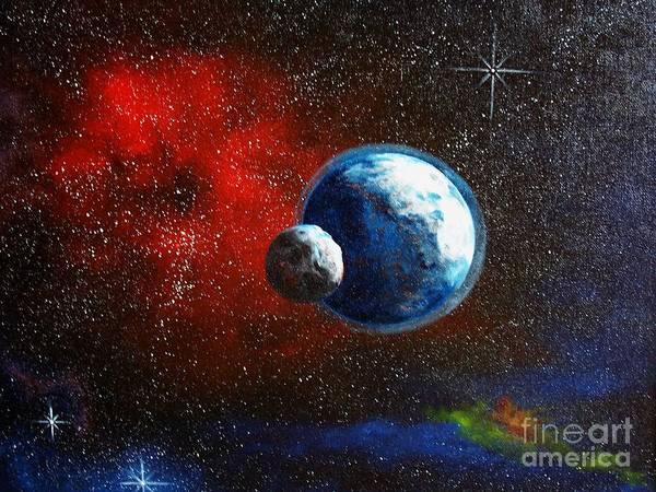 Astro Art Print featuring the painting Broken Moon by Murphy Elliott
