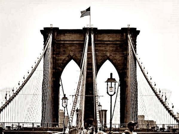 Manhattan Art Print featuring the photograph Brooklyn Bridge by Art by Dance