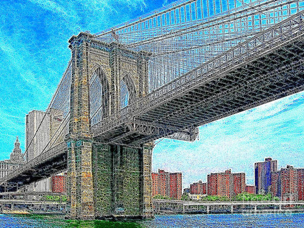 Brooklyn Bridge Print featuring the photograph Brooklyn Bridge New York 20130426 by Wingsdomain Art and Photography