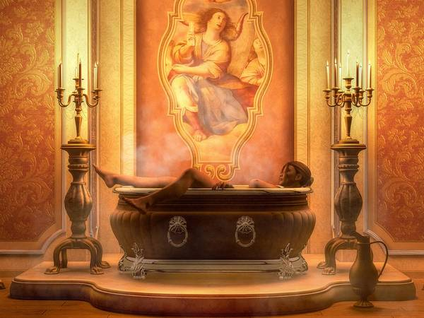 Nude Bather Art Print featuring the digital art Candle Lit Bath by Kaylee Mason