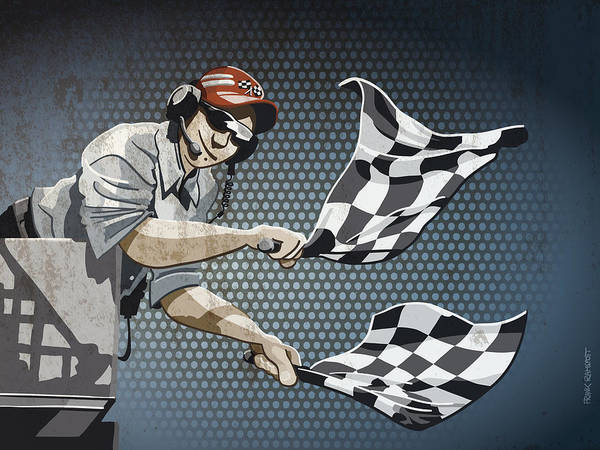 Racing Art Print featuring the digital art Checkered Flag Grunge Color by Frank Ramspott