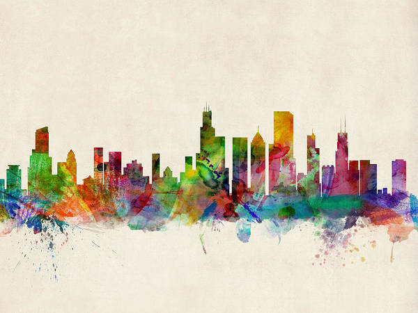 Watercolor Skyline Of Chicago Art Print featuring the digital art Chicago City Skyline by Michael Tompsett
