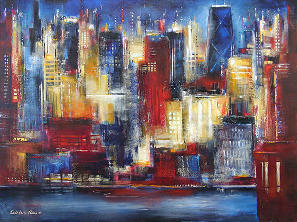Chicago Art Art Print featuring the painting Chicago In The Evening by Kathleen Patrick