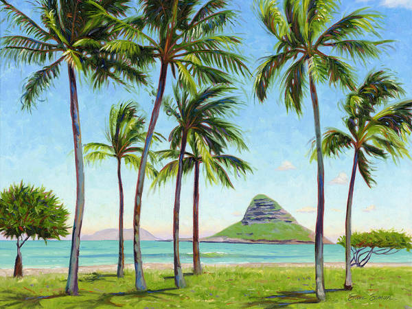 Chinamans Hat Art Print featuring the painting Chinamans Hat - Oahu by Steve Simon