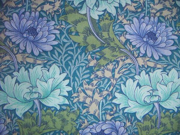 William Print featuring the tapestry - textile Chrysanthemums In Blue by William Morris
