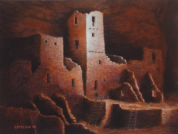 Anasazi Art Print featuring the painting Cliff Palace by Jerry McElroy